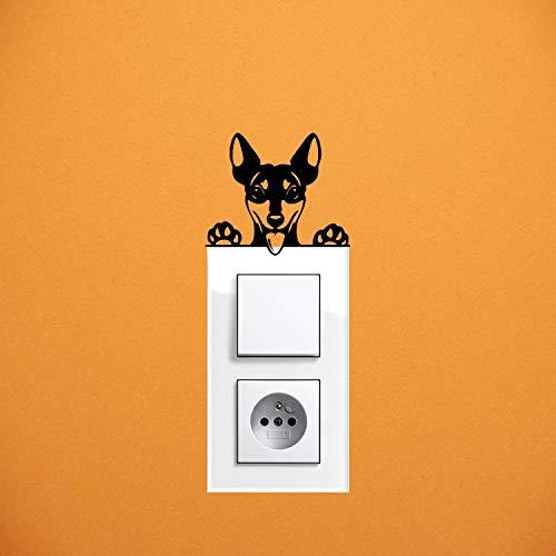 myrockshirt Adhesivo para interruptor de luz, diseño de perro pinscher enano, aprox. 10 cm, para coche, pintura, cristal y pared, adhesivo de calidad profesional
