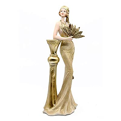 """Comfy Hour 14"""" Elegant Slim Lady Standing Leaning On Pillar Resin Collectible Figurine, Gold"""
