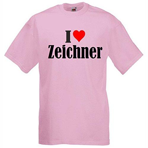 Camiseta I Love Dibujos para mujer, hombre y niños en los colores negro, blanco y rosa. rosa S