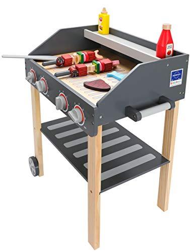 Mamabrum Holz Grill für Kinder BBQ für Kinder Gartenspielzeug für Mädchen und Jungen, Kinderküche für das Spielen Zuhause und im Garten