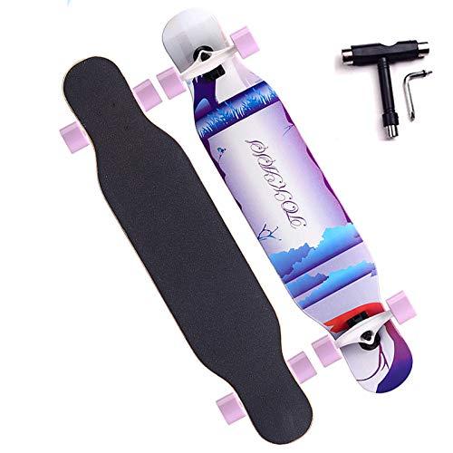 VOMI Adultos Skateboard, Capacidad de Carga Máxima 200kg, Impresión por Transferencia de Calor, Superficie Antideslizante, ABEC 11 Rodamiento, 80A PU Rueda, Adecuado para Principiantes Adolescentes,A