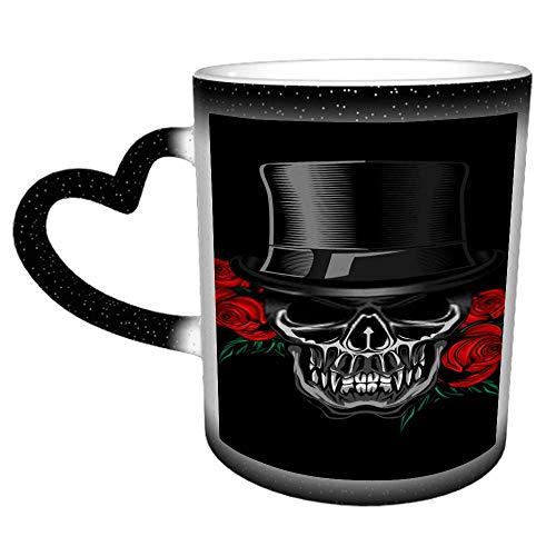 Taza de cerámica personalizada con diseño de calavera y rosas de Voodo - Es un regalo/regalo perfecto
