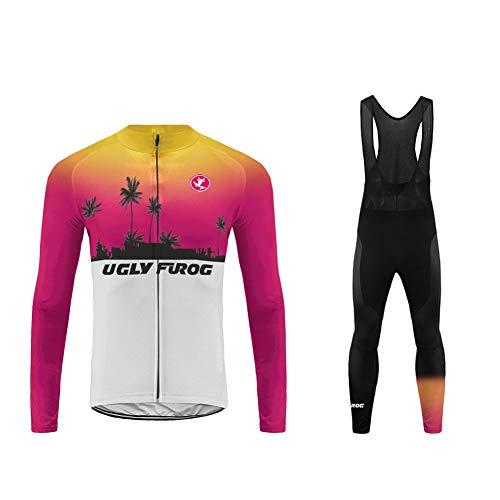 Uglyfrog Artikel Herren Fahrradbekleidung Langarm Radtrikot Set Outdoor Radsport Gemütlich Radkleidung Trikot Jersey + Lange Radlerhose im Winter