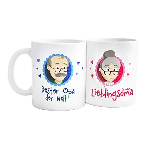 """Oma Opa Geschenke - Geschenk für Oma und Opa - Oma Tasse und Opa Tasse Set """"Für meine Lieblingsoma/Bester Opa"""" als super Oma und Opa Geschenkideen - Geschenk Oma und Geschenk Opa mit GRATIS Glückwunschkarte - Oma Geschenk und Opa Geschenk zu Weihnachten und Geburtstag von MyOma"""