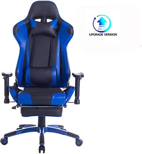 Wolmics Upgrade Version Gaming-Stuhl mit Fußstütze,Computerstuhl Schreibtischstuhl Rennstil Ergonomisches Design Leder Bürostuhl Drehstuhl Chefsessel mit Lordosenstütze Kopfstütze WS204 Blau