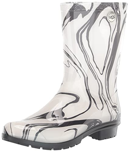 UGG Women's Sienna Marble Rain Boot, Black/White, 8