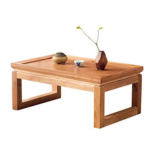 Tables Basses Tatami Basse Moderne Baie Vitrée Petit Bureau Salon en Bois Massif À Thé Simple Lit Chambre Petite Basses (Color : Wood Color, Size : 60 * 40 * 30cm)