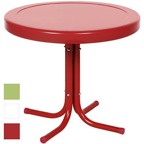 Best Choice Products Indoor Outdoor 22in Modern Metal Side Table, Red