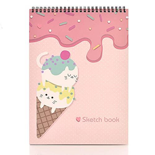 MEMX Cuaderno de bocetos, A4, 21 x 29 cm, 100 páginas (110 g / m²), encuadernación en espiral, bloc de bocetos para artistas, papel de dibujo duradero sin ácido para dibujar, pintar, esbozar, blanco