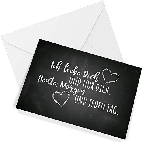 Klappkarte mit Umschlag Liebe Valentinstag Valentinskarte Grußkarte Ich liebe Dich Liebeskarte mit Herzen schwarz Vintage