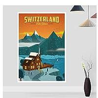 スイスヴィンテージシティトラベルポスターキャンバスプリント家の装飾壁アート装飾寝室の美的24x32の部屋の装飾フレームなし