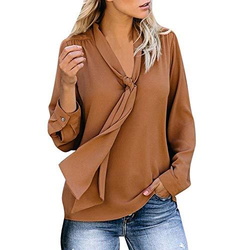 YEBIRAL Bluse Damen Elegant Chiffonbluse Schluppenshirt T-Shirt mit Schleife V-Ausschnitt Einfarbig Langarmshirt Tops