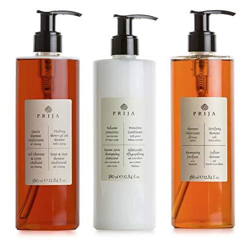 Prija Haar Set 3x 380 ml Aufbaushampoo, Haarshampoo Pflegespülung Hair & Body