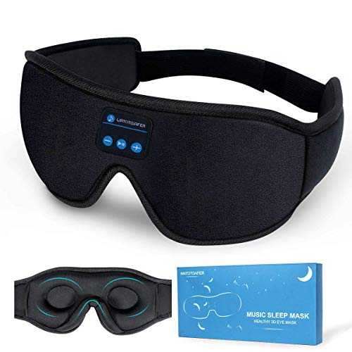 Sleep Headphones, Bluetooth 5.0 Wireless 3D Eye Mask, WATOTGAFER Sleeping Headphones for Side Sleepers, Washable Travel Music Play Adjustable Speakers Microphone Handsfree Long Play Time