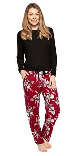 Cyberjammies 4273/4295 Damen Pyjama-Set Alice, gestricktes Oberteil und weiche Baumwolle, Burgunderrot mit Blumenmuster Gr. 46, Mehrfarbig