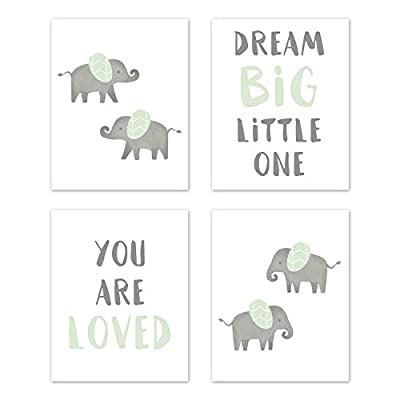 Sweet Jojo Designs Mint and Grey Wall Art Prints Room Decor for Baby, Nursery, and Kids for Watercolor Elephant Safari Collection - Set of 4 - Dream Big You are Loved