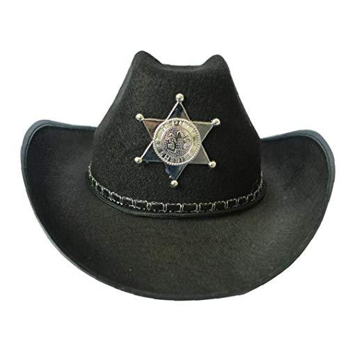 Asien Fünf Spitzer Stern-hut Sheriff Cowboy-hut in Brown-kostüme Für Männer Perfekt Für Karneval Halloween & Cosplay Schwarz