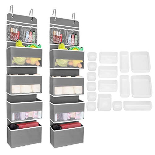 JARLINK 2 Pack 5-Shelf Over Door Hanging Organizer Bundle with 16 Pack Desk Drawer Organizer Trays with 4 Different Sizes, Versatile Drawer Organizers Storage for Makeup, Bedroom Dresser, Office
