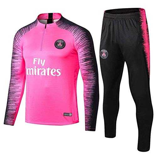 Gylilai European Football Club Herren Fußball Sweatshirt Langarm Frühjahr und Herbst Atmungsaktive Sporttrainingsuniform (Top + Hose) Pink (Color : Pink, Size : S)