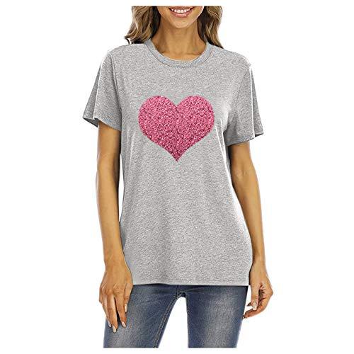 L9WEI - Camiseta de verano de gran tamaño con estampado de corazones, cuello redondo, suelto, de manga corta, informal, elegante