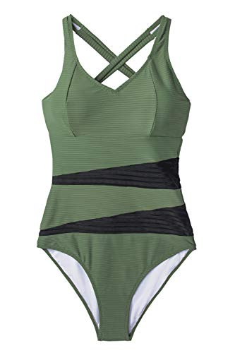 CUPSHE Women's Olive Green Back Tie One Piece Swimsuit Small