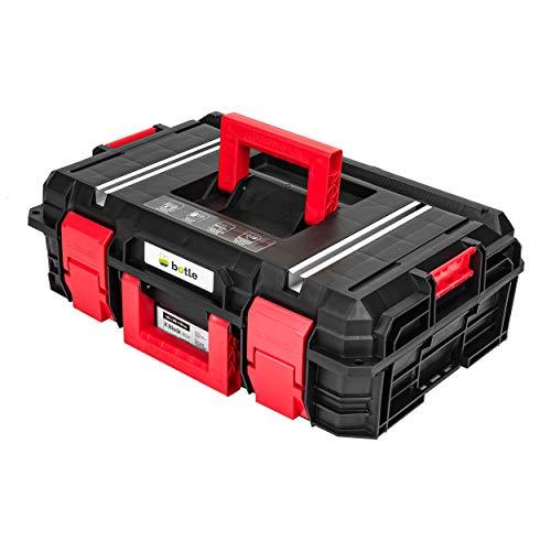 robuster Werkzeugkoffer Kunststoff schwarz leer Werkzeugkasten mobile Werkstatt 55 x 38 x18 cm