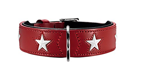 HUNTER MAGIC STAR Hundehalsband, mit Sternen, Leder, weich, 55 (M), rot