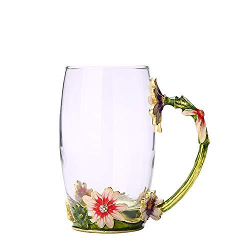 W&L Esmalte Taza de café Rosa Cristal cristalino Claro Regalo de Boda Novedad Elegante Regalo del día de la Madre Manual sin Plomo Diseño Floral único Decoración de cumpleaños Creativa 350 ml