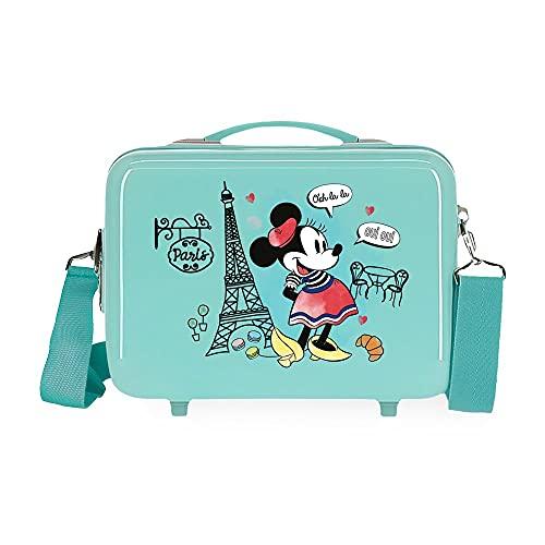 Minnie Minnie Around The World Neceser Adaptable con Bandolera Azul 29x21x15 cms Rígido ABS 9,14L