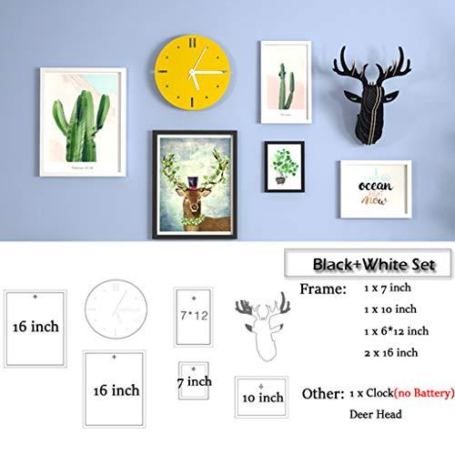 5 Pcs Cadre Photo Set avec Horloge Peinture Classique en Bois Massif Tête De Cerf Grande Taille Décoration Murale À La Maison