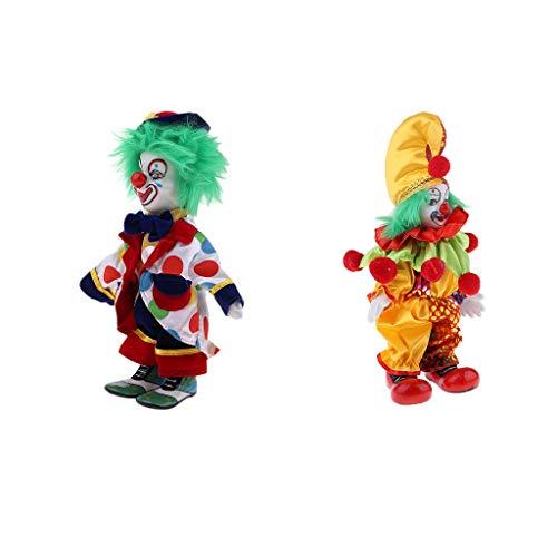 Toygogo 2 Stück 7 Zoll Porzellan Lächelnd Clown Puppe Mit Bunten Kostüm, Lustige Harlekin Puppe, Zirkus Requisiten, Halloween Dekor
