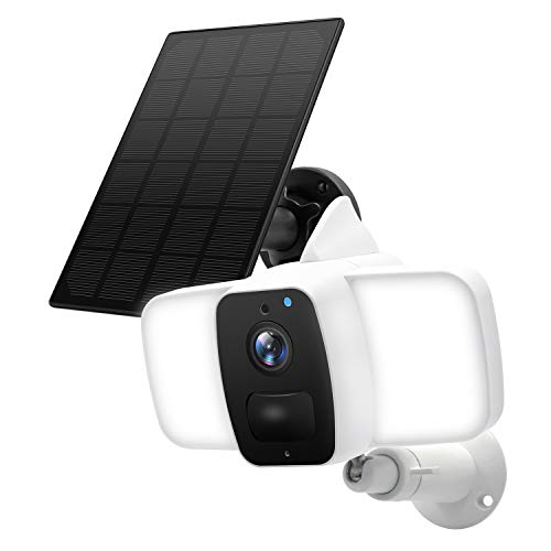 Floodlight Camera,Solar Powered Rechargeable Battery Camera,Wireless Security Camera Outdoor,10400mAh Battery Solar Panel Powered ,IP65 Waterproof,Two Way Audio, PIR Motion Detection/Smart Life APP