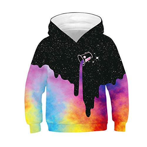 LANYU 3D Print Spilled Paint Hoodie Boys Girls Space Galaxy Hooded Sweatshirts Unisex Long Sleeve Pullovers Tops Child Clothes (Black-Pink, 11-13Y)