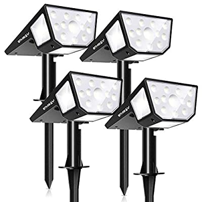 OTHWAY Solar Spotlights Outdoor,39 LEDS Solar Landscape Lights with 2 Lighting Modes 330°Wide Angle Solar Powered Wall Lights, 2-in-1 Adjustable Wall Lights for Yard, Garage, Deck (Cold White, 4 Pack)