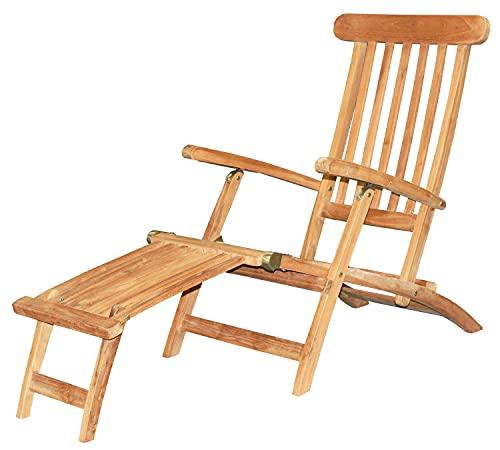 Mr. Deko Deckchair Skipper - Liegestuhl aus Teak Holz - klappbar & wetterfest - Relaxliege für Garten, Balkon & Sauna - Sonnenliege mit Verstellbarer Rückenlehne - Luxus Gartenliege