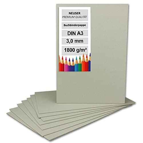5X Buchbinderpappe DIN A3 (29,7 x 42 cm) - Stärke 3,0 mm (0,3 cm) - Grammatur: 1800 g/m² - Graupappe zum Basteln, Modellbau, Buchbinden