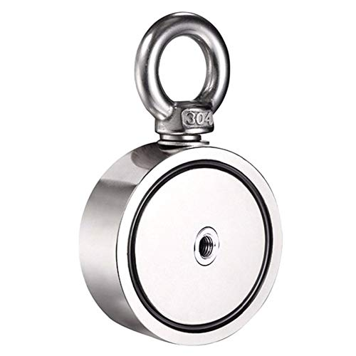 80-100Kg Kit De Pesca De Detector De Imán De Metal De Neodimio Redondo Fuerte Y Potente De Doble Cara con Anillo-48Mm