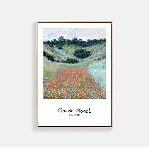 Carteles e impresiones de arte nórdico de Monet, murales de hierba y nieve junto al mar, pinturas de lienzo decorativas sin marco modernas familiares n. ° 6 20x30cm