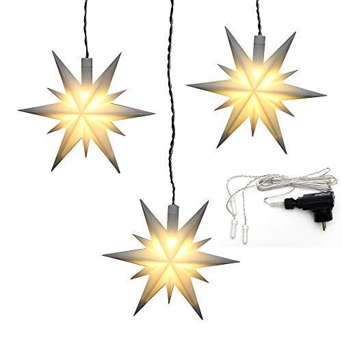 Dekohelden24 3er Set Weihnachtssterne aus Kunststoff in weiß, inkl. LED Beleuchtung und Adapter, für Innen und Außen geeignet. Maße je Stern L/B/H: 13,5 x 5,5 x 12 cm.