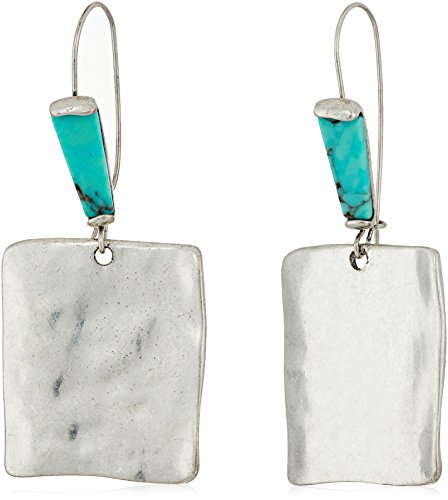 "Robert Lee Morris ""Mosaic"" Sculptural Square Long Drop Earrings"