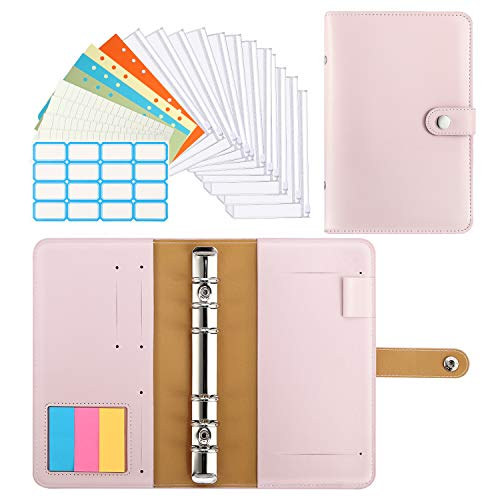 Dadanism 6-Ring Notebook Binder, PU Leather Loose Leaf Notebook Binder Cover with 12pcs Clear Plastic A6 Binder Envelope Zipper Pouches & Label Stickers Refillable Budget Envelope System - Sakura Pink