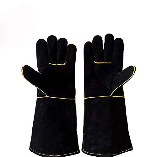 Svetshandskar, värmebeständiga brandsäkra spisar, eldvantar för träbrännare, ko split läder svetsare handskar för riggers grill vedspis långa fodrade grillhandskar