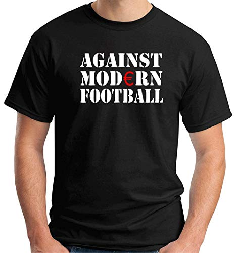 T-Shirt Hombre Negro TR0002 Against Modern Football Ultras Fussball ACAB Hooligan Anti