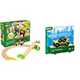 Brio My First Railway – 33727 Beginner Pack   Wooden Toy Train Set for Kids Age 18 Months and Up & World - 33577 Car Transporter   2 Piece Toy Train Accessory for Kids Ages 3 and Up