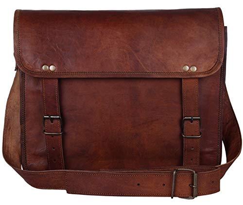 handmadecraft Real piel Messenger cum portátil cruz cuerpo bolso marrón bolsa maletín