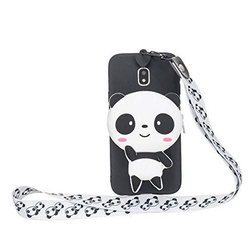 LAXIN - Custodia in silicone per Samsung Galaxy J5 (2017), con motivo panda 3D, in morbido silicone, con simpatici animali in gomma, per bambine e ragazze, con simpatica panda