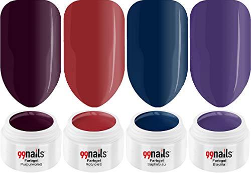 99 Nails Gel UV coloré Set – Mothers Day 4er Pack (4 x 5 ml) gelnägel Kit Ongles UV Set fabriqué en Allemagne