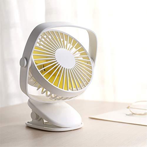 JIARUI Mini Clip Ventilatore scrivania Ventilatore a 360 ° Regolabile Fan Rotationel ectric, USB Portatile Ventilatore con Batteria Ricaricabile per Camera & Outdoor,Bianca