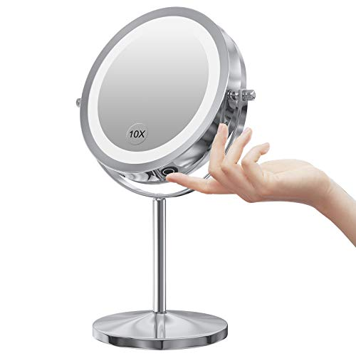 LED Makeup Mirror with Touch Screen Adjustable LED Light, 7 Inch Lighted Vanity Swivel Mirror 1x/10x Magnifying Double Sided Mirror (Silver-Dimmable Switch)