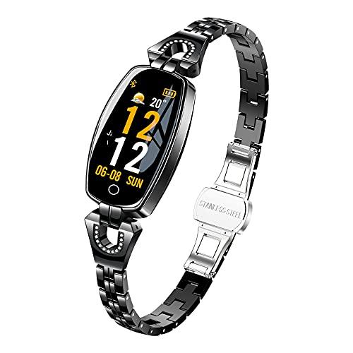 Anyer Smart Watch for Women, 0,96'Smartwatch De Pantalla Táctil, Reloj De Seguimiento De Actividades De Fitness con Monitor De Ritmo Cardíaco, Impermeables IP67 para Teléfonos iOS De Android,Negro